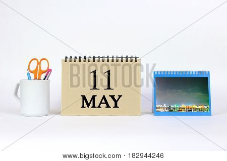 Deadline 11 May Calendar With White Background and Office.