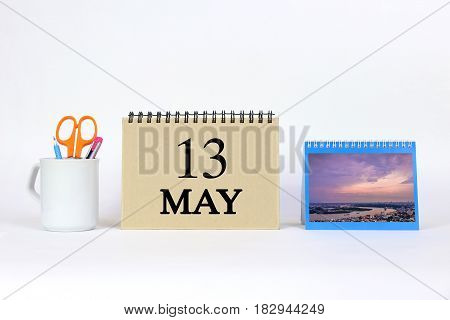 Deadline 13 May Calendar With White Background and Office.