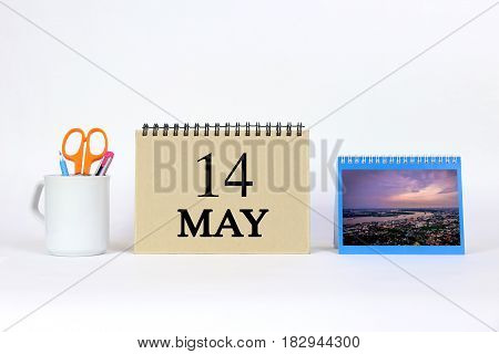 Deadline 14 May Calendar With White Background and Office.