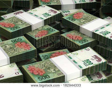 Stack of Argentina Pesos (computer generated image)  3D Rendering