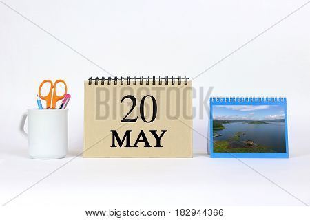 Deadline 20 May Calendar With White Background and Office.