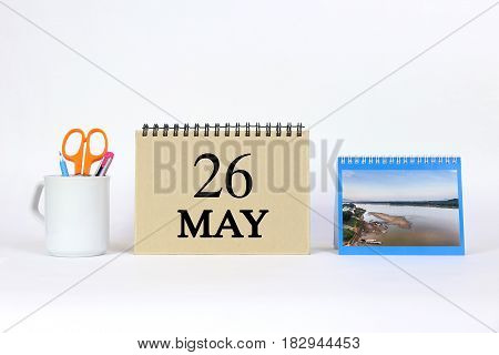Deadline 26 May Calendar With White Background and Office.