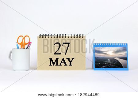 Deadline 27 May Calendar With White Background and Office.