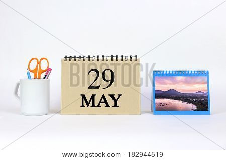 Deadline 29 May Calendar With White Background and Office.