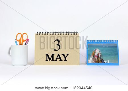 Deadline 3 May Calendar With White Background and Office.