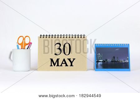 Deadline 30 May Calendar With White Background and Office.