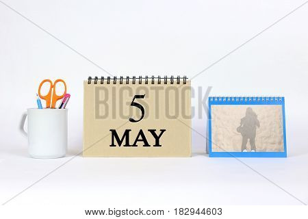 Deadline 5 May Calendar With White Background and Office.