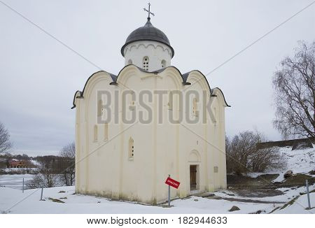 The old Church of St. George a cloudy winter day. Staraya Ladoga fortress, Russia