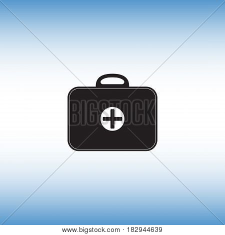 Medicine chest vector sign. First aid kit vector icon. Medical bag flat illustration. Medical help service button pictogram.