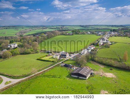 rural english farming town of Ashwater in Devon, England