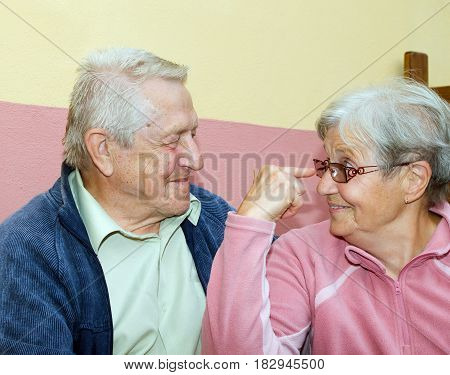Married couple of seniors having fun together