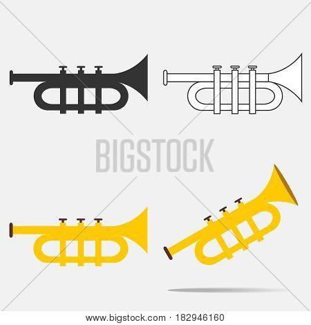 Trumpet icon. Flat design vector illustration vector.