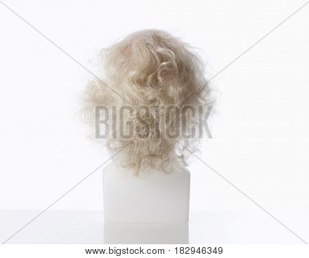 Mannequin Male Head with Bald Wig on White
