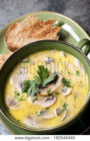 Mushroom soup with toast.