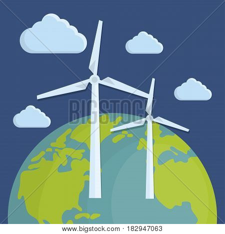 earth planet and eolic turbines over blue background. colorful design. vector illustration