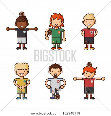 National Euro Cup soccer football teams vector illustration and world game player captain leader in uniform sport men isolated characters. Active winner playing male group.