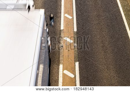 Overhead View of UK Motorway Road Sunny Day.