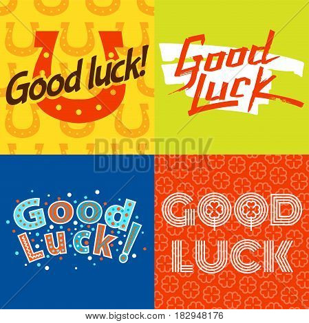 Good luck text farewell vector lettering with lucky phrase background greeting typography. Vintage word decorative symbol inscription expression banner.