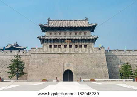 Shanxi, China -  Sept 21 2015: Datong City Wall. A Famous Historic Site In Datog, Shanxi, China..