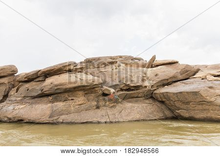 Sam pan bok,Stone in the shape of the natural beauty of the Mekong River in Thailand