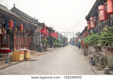 Shanxi, China - Sept 08 2015: Morning View Of Ancient City Of Ping Yao(unesco World Heritage Site).