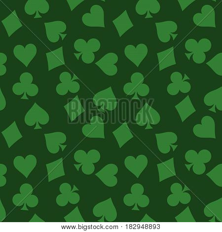 Seamless pattern background of green poker suits - hearts, clubs, spades and diamonds - on green background. Casino gambling theme vector illustration.