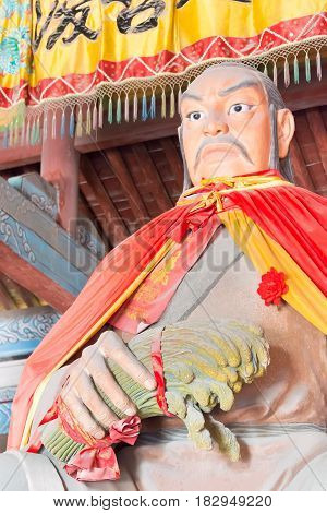 Shanxi, China - Aug 29 2015: Yao Statue At Yao Temple. A Famous Historic Site In Linfen, Shanxi, Chi
