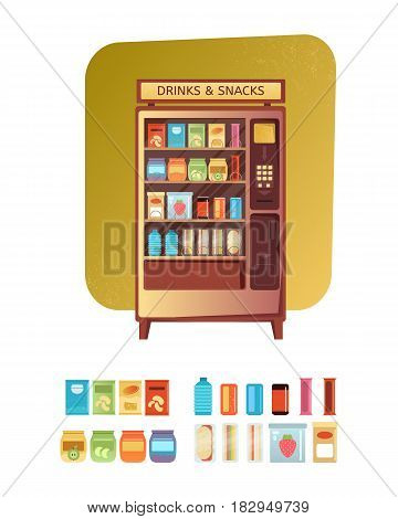 Vending Machine with Food and Drink Soda Snacks sandwiches and eat packaging set. Vintage vending machine advertisement poster. Flat design vector illustration.
