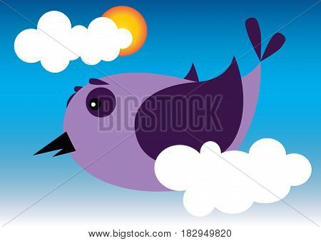 Bird flying in the sky with clouds and sun. Vector illustration. EPS 10
