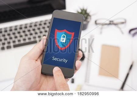 smart phone security shielding code. concept cyber protection firewall interface threat.