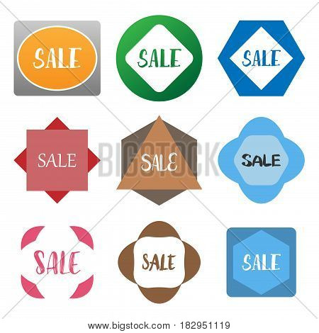 several style of geometric shape badge sticker label set,vector Illustration EPS10