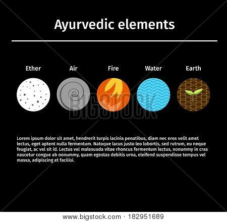 Vector illustration. Ayurvedic elements: fire, water, air, earth, ether, Alternative medicine. Indian medicine. Life style. Flat Style.