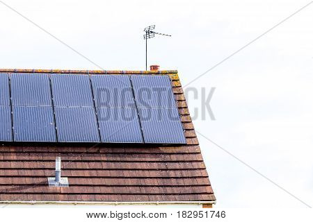UK Solar Energy Panel on Sunny Roof.