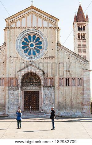 Tourists Near Basilica Of San Zeno In Verona City