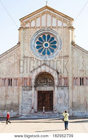 Front View Of Basilica Di San Zeno In Verona