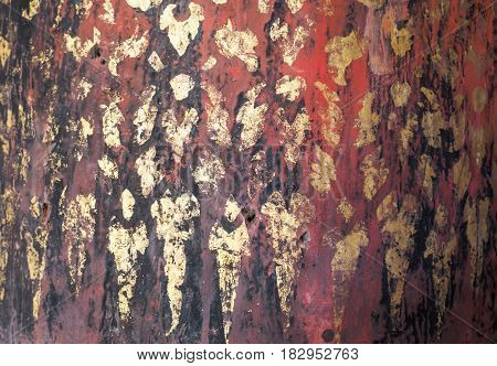 Traditional wood handcraft product made form teak and gold leaf concept for background texture.