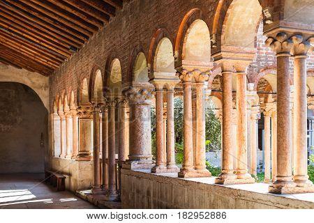 Arcade In Cloister Of Basilica Di San Zeno