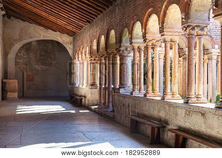 Arcade Of Basilica Di San Zeno In Verona City