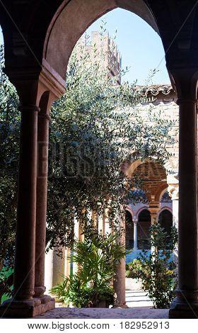Cloister Of Abbey Near Basilica Di San Zeno
