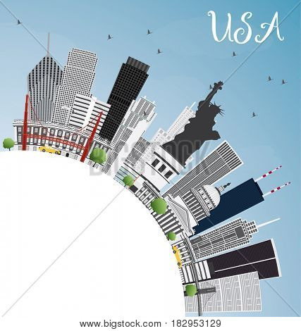 USA Skyline with Gray Skyscrapers, Landmarks and Copy Space. Business Travel and Tourism Concept with Modern Architecture. Image for Presentation Banner Placard and Web Site.