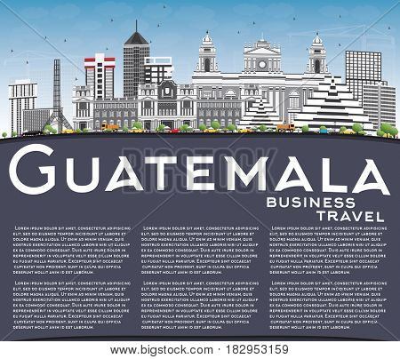 Guatemala Skyline with Gray Buildings, Blue Sky and Copy Space. Business Travel and Tourism Concept with Modern Architecture. Image for Presentation Banner Placard and Web Site.