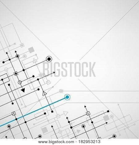Techno sign square abstract concept digital background. Round blue and black points with gray cyber silhouette with space for text