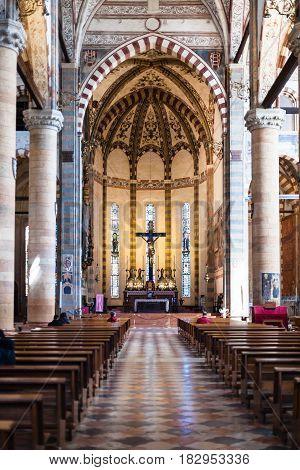 Nave Of Chiesa Di Sant Anastasia In Verona City