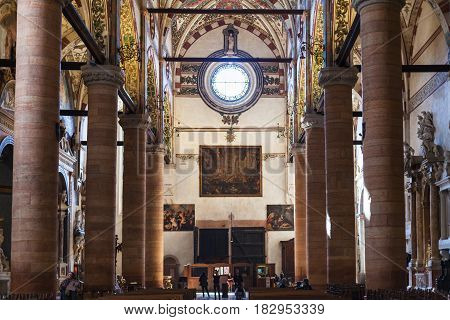 Interior Of Chiesa Di Sant Anastasia In Verona
