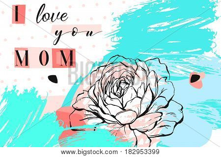 Hand drawn vector abstract floral collage with I love you mom calligraphy quote and spring flowers.Feminine design for cardinvitationsave the date.Happy Mother's Day concept