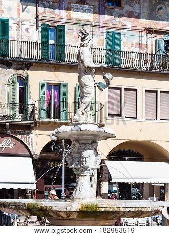 Statue Madonna Verona In Verona City In Spring