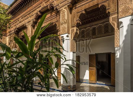 MARRAKESH, MOROCCO - APRIL 1,2017 - Decorated buildings of the Bahia palace in Marrakesh. Marrakesh is the fourth largest city in the Morocco.
