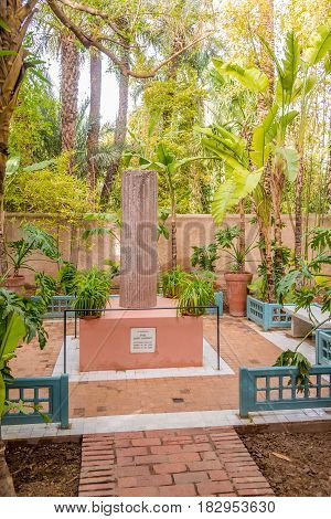 MARRAKESH ,MOROCCO - APRIL 1,2017 - Memorial of Yves Saint Laurent in Majorelle Garden in Marrakesh. Marrakesh is the fourth largest city in the Morocco.