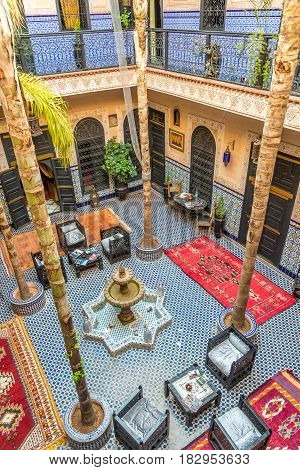 MARRAKESH ,MOROCCO - APRIL 1,2017 - Courtyard of the Moroccan Housein Marrakesh. Marrakesh is the fourth largest city in the Morocco.