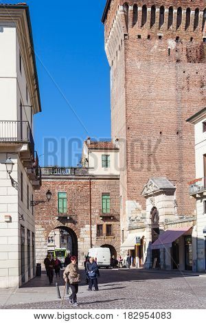 People Near Torre Di Castello In Vicenza City